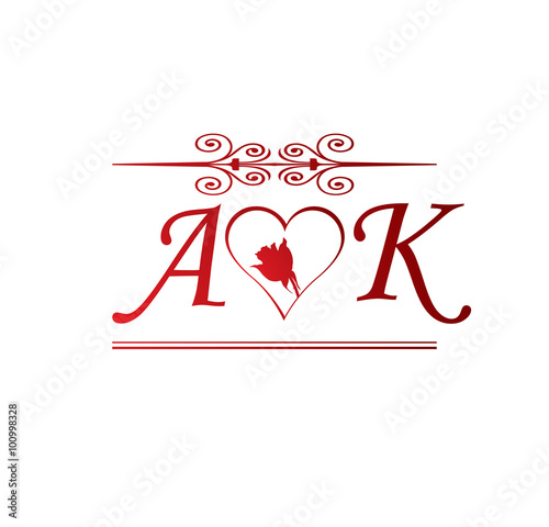ak love initial with red heart and rose buy this stock vector and explore similar vectors at adobe stock adobe stock ak love initial with red heart and rose