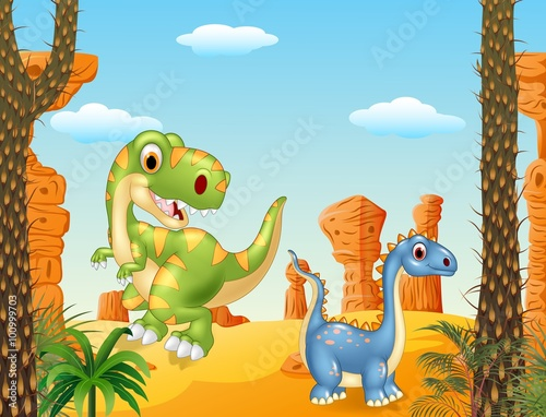Canvas Prints Dinosaurs Cute dinosaur posing in the desert background