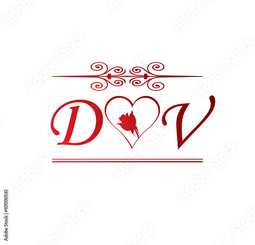 Dv Love Initial With Red Heart And Rose Buy This Stock Vector And Explore Similar Vectors At Adobe Stock Adobe Stock