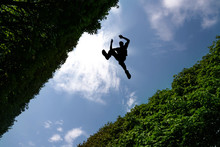 Man Jumping Over Bushes