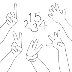 hands and fingers. Numbers countdown