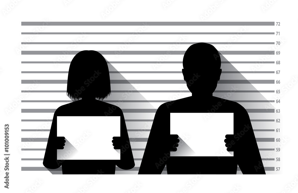 Fototapeta Police criminal record with man and woman , flat design