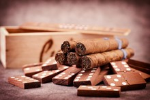 Cuban Cigars And Domino Game