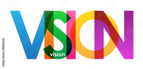Fotografía  VISION overlapping vector letters icon