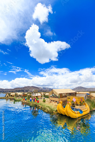 Fotografie, Obraz  Totora boat on the Titicaca lake near Puno, Peru