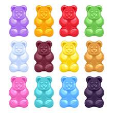 Set Of Colorful Beautiful Gummy Bears.