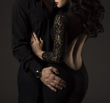 Couple In Black, Woman And Man No Faces, Sexy Lady Lace Dress