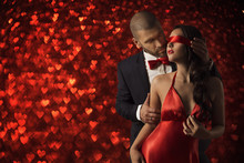 Sexy Couple Love, Man In Suit Undress Woman Blindfold, Red Heart