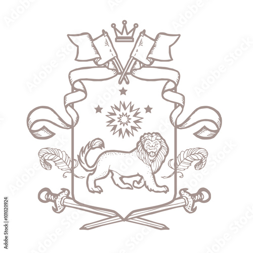 Heraldry Coat Of Arms Hand Drawn Template