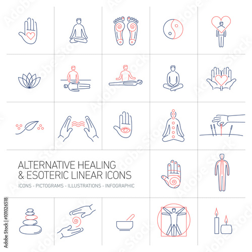 Photo  alternative healing and esoteric linear icons set blue and red o