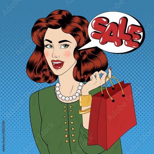 Zdjęcie XXL Banner sprzedaży w stylu pop art. Vintage Girl z torby na zakupy w stylu komiksów
