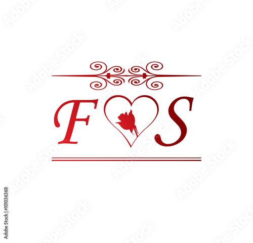 Fs Love Initial With Red Heart And Rose Buy This Stock Vector And Explore Similar Vectors At Adobe Stock Adobe Stock