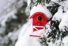 Red Barn Birdhouse Covered In ...