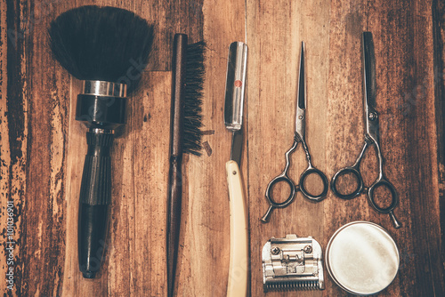 Barber tools. Wallpaper Mural