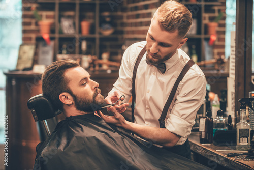 Beard grooming.