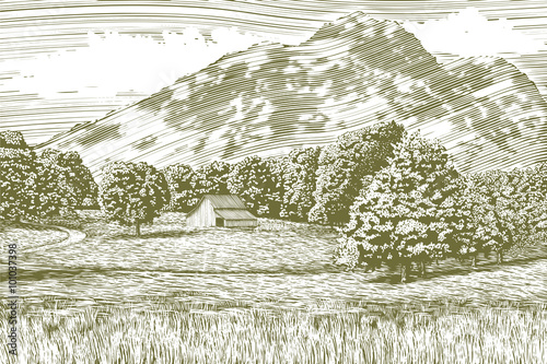 Fotografie, Obraz  Woodcut-style illustration of a farm and barn with a mountain in the background