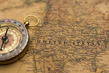 Old Compass On Vintage Map Selective Focus On USA