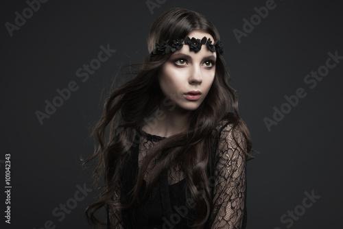 Fotografie, Obraz  Studio portrait of a beautiful girl in Gothic style