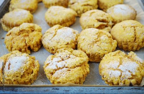 Valokuva  Homemade sweet potato scones on a baking sheet