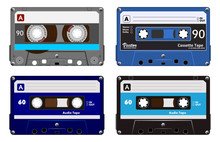 Collection Of Four Plastic Audio Cassettes Tape. Different Colorful Music Tapes. Blue Set. Old Technology, Realistic Retro Design, Vector Art Image Illustration, Isolated On White Background Eps10