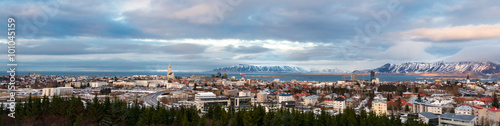 Panorama view of Reykjavik, Iceland, in winter Fototapet