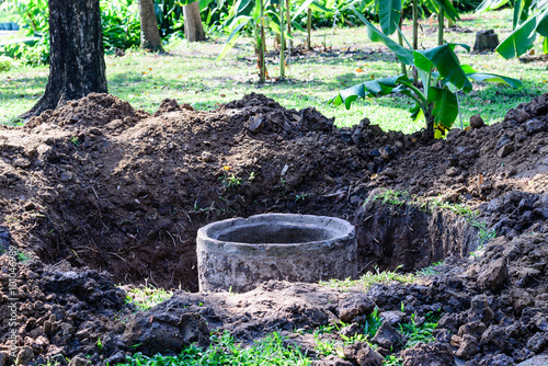 Cement septic tank for waste water under construction. Canvas-taulu