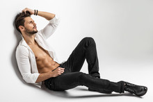 Sexy Undressed Male Model Posing