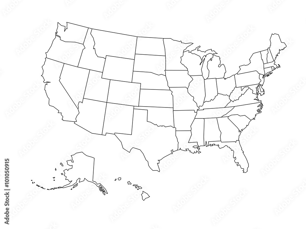 Fototapety, obrazy: Blank outline map of USA