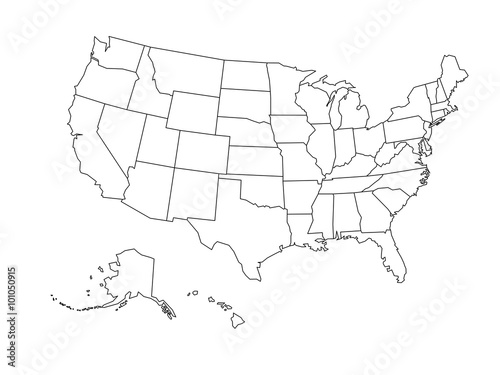 Photo  Blank outline map of USA