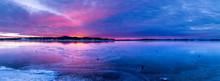 Panorama Colorful Sunrise Over Frozen Lake.