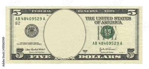 Fotografia, Obraz  Blank 5 dollar banknote isolated on white background