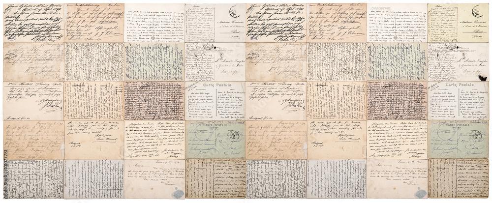 Fototapeta Antique postcard. Vintage papers background banner