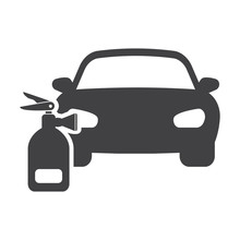 Car Fire Extinguisher Black Simple Icon On White Background For Web