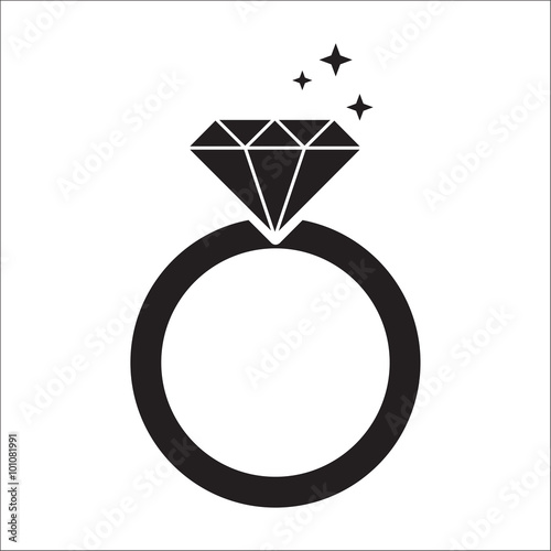 Fototapeta diamond ring black icon
