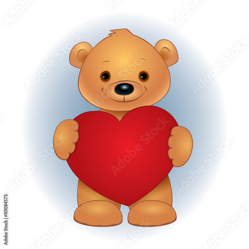Vector illustration of a cute brown teddy bear standing and holding red heart. Square format. #101084575