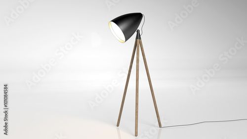 Fotografie, Obraz  Floor lamp on tripod, electric light isolated on white background