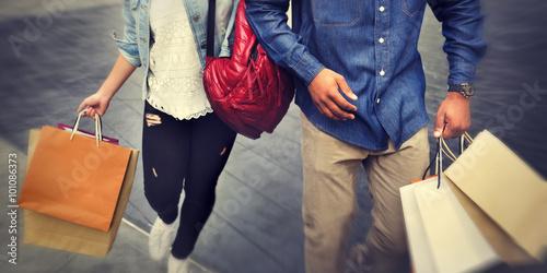 Shopping Couple Capitalism Enjoying Romance Spending Concept Fototapeta