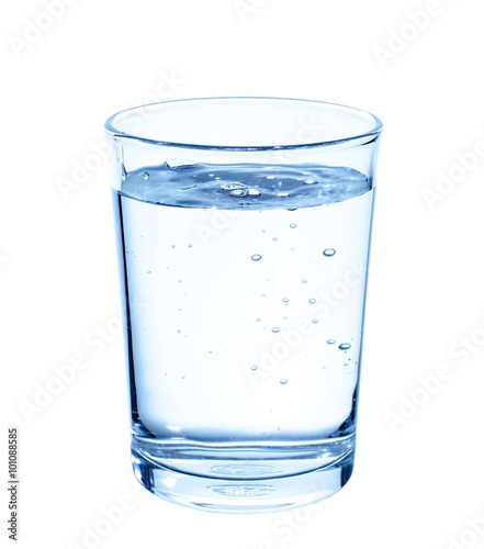 Photo  Glass with water on white background.