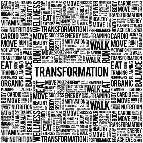 TRANSFORMATION word cloud background, health concept - Buy