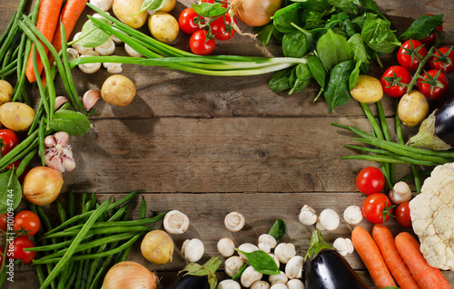 Fresh organic vegetables. Healthy Food background. Poster