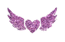 Abstract Heart With Wings Of Purple Glitter Sparkle On White Background