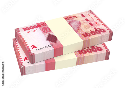 Tanzanian Shilling Bills Isolated On White Background Computer