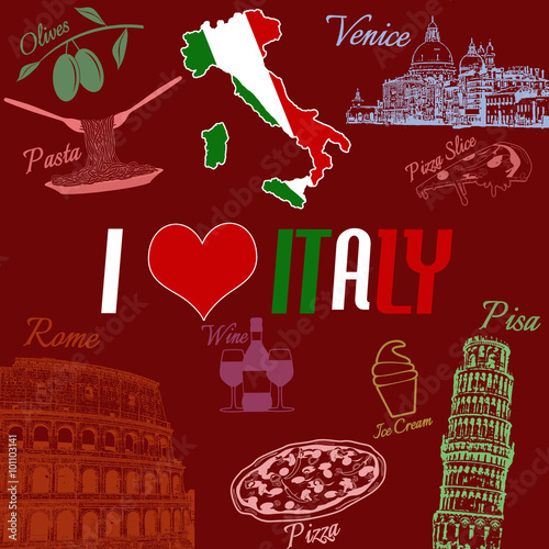 Stampa su Tela I love Italy grunge seamless pattern with national italian food, sights, map and