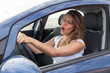 canvas print picture - Frau singt im Auto