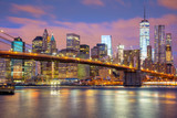 Fototapeta Bridge -  Manhattan skyscrapers and Brooklyn Bridge - beautiful gentle
