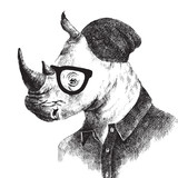 Hand drawn dressed up rhino in hipster style - 101111137