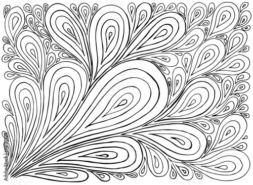Hand Drawn With Ink Background With Doodles Drops Vector