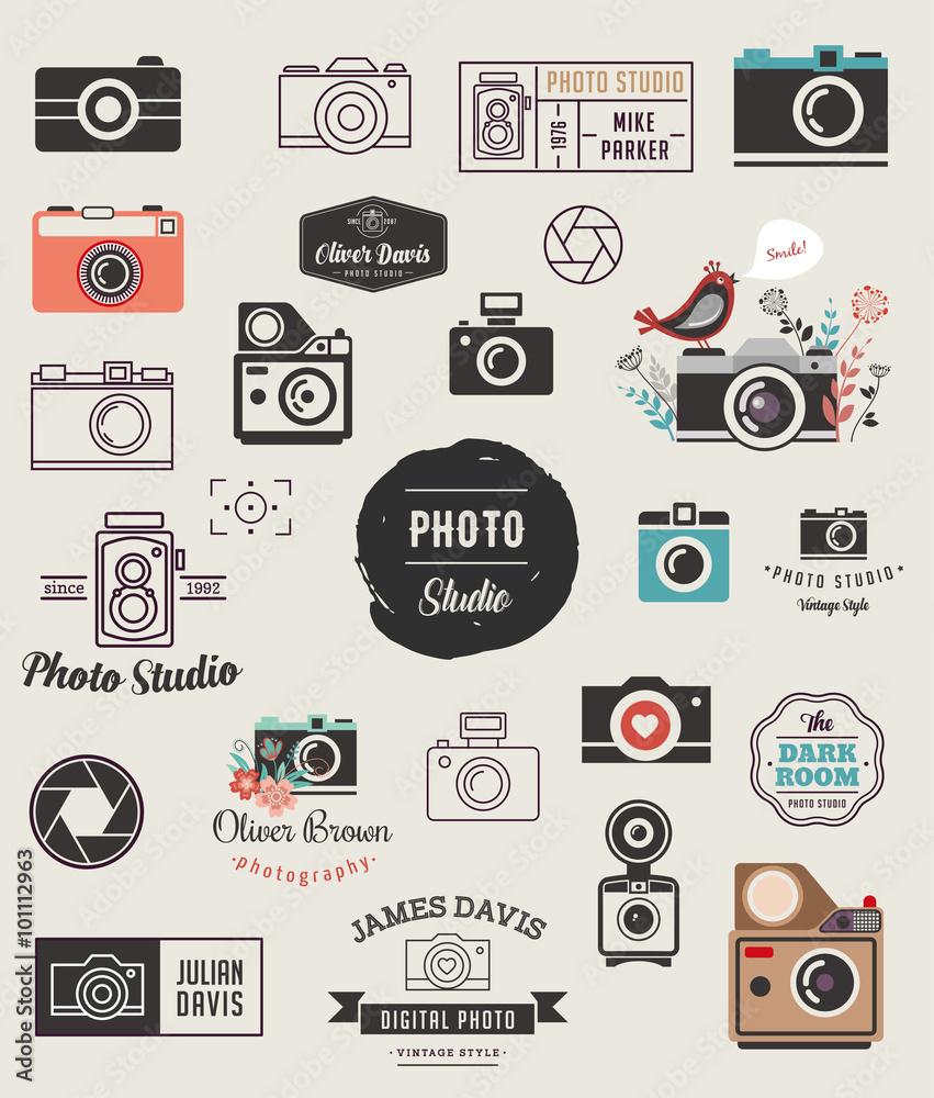 Fototapety, obrazy: Photographer, cameras, photo studio elements, icons set