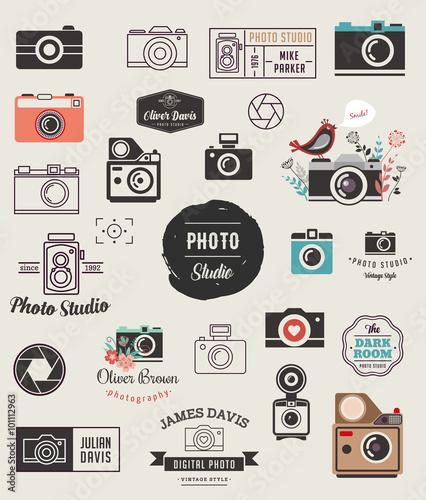 Obraz Photographer, cameras, photo studio elements, icons set - fototapety do salonu