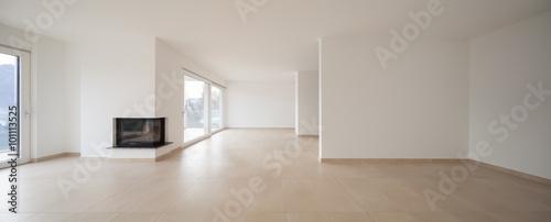 interior of new apartment, empty living room, tiled floor Wallpaper Mural